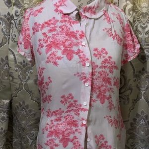 Joules pink and white blouse